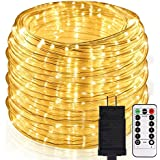 B-right LED Rope Lights, 72ft 336 LED String Lights Plug in 8 Modes Dimmable Waterproof Indoor/Outdoor Rope String Lights for Party Patio Garden Tree Decor, ETL-Listed, Warm White with Remote Control
