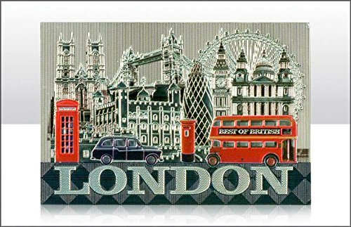 ELGATE - LONDON METALLIC FRIDGE MAGNETS - SOUVENIR, MONTAGE - FAMOUS SCENES - 9327