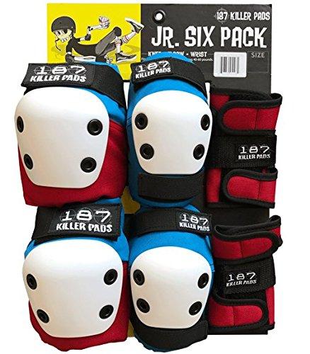 187 Killer Pads Junior Six Pack Combo Set - Red/White/Blue ()
