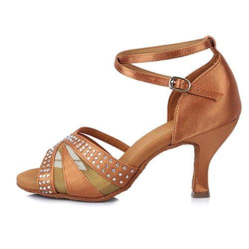 YFF Professionelle Strass Ballroon Latin Dance Schuhe Satin Salsa Party Tanz Schuhe für Frauen Mädchen Damen Tango, Braun, 4.