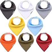 KiddyCare Baby Bibs 8 Pack - Waterproof 100% Organic Cotton for Drooling and Teething - Soft & Absorbent Bandana Bibs for Ba