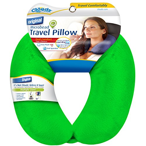 Cloudz Dual Comfort Microbead Travel Neck Pillow - Bright Green ()