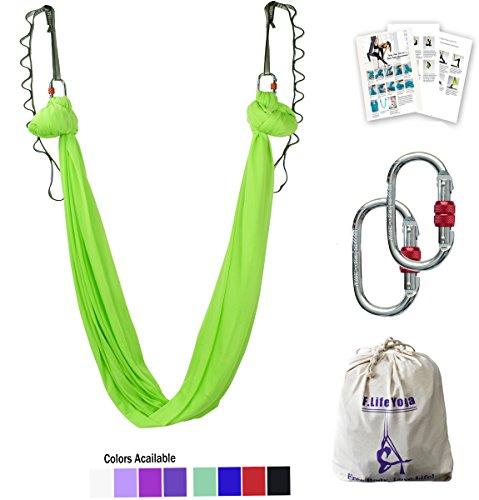 Aerial Yoga Hammock 5.5 yards Premium Aerial Silk Fabric Yoga Swing for Antigravity Yoga Inversion Include Daisy Chain,Carabiner and Pose Guide (Lemon Lime)