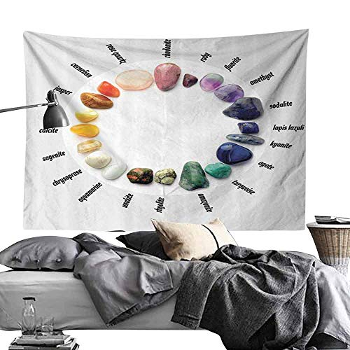 Gemstone Color Push Pins - Homrkey Bedroom Tapestry Rocks Gemstones with Names Semi Precious Stones Recovery Healing Magic Medicine Zen Chakra Innovational Wall Hanging W80 x L60 White Blue Purple Yellow Orange