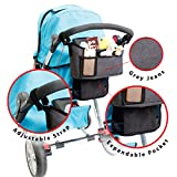 Stroller Organizer - Universal fit with Adjustable Straps with FREE Car Seatbelt Cover - Grey Denim fabric - Stroller Accessories for baby stuff