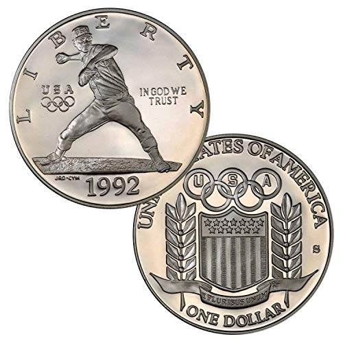 1992 S Olympic Baseball Dollar Proof $1 Brilliant Uncirculated