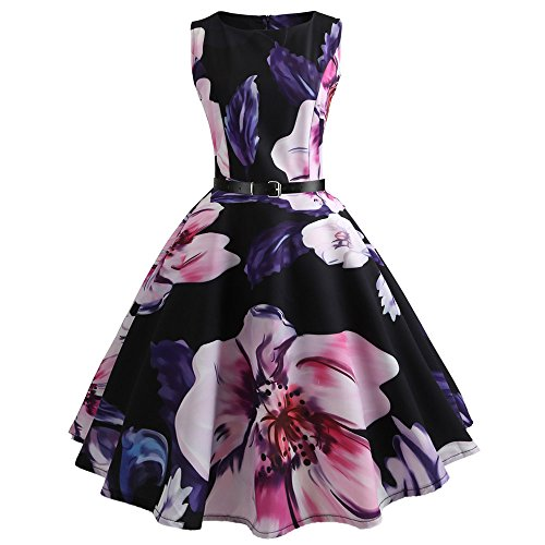 DongDong ❣Womens Dresses 1950s Vintage Flower Print Rockabilly Swing Lace Cocktail Prom Mini Party -
