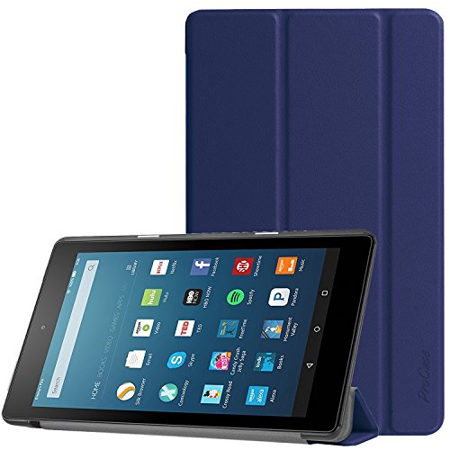 All-New Amazon Fire HD 8 Case (2017 7th Generation), ProCase Slim Light Smart Cover Stand Hard Shell Case for Fire HD 8 Tablet (7th Gen, 2017 release) -Navy by ProCase