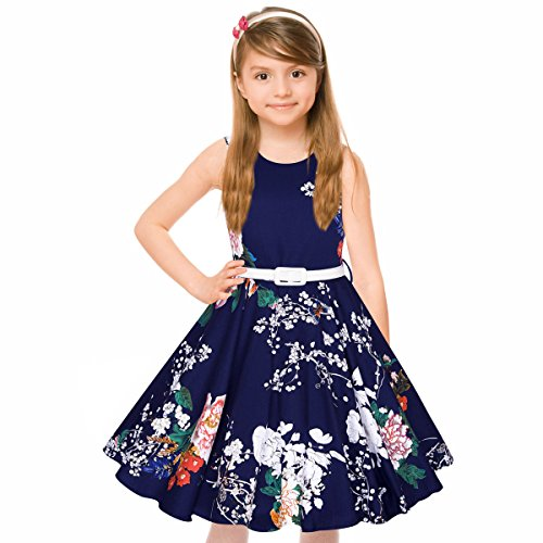 Girl's Classy Audrey 1950s Vintage Rockabilly Swing Party Dress With Belt by HBB (Girl's 11/12, Blue (Classy Kids Clothes)