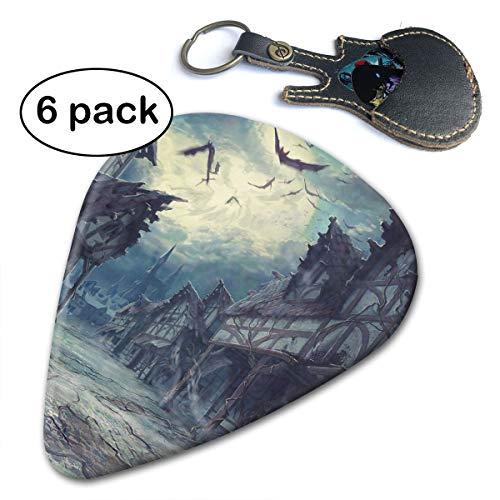 Janvonne House Halloween Horror Dark Bats 351 Shape Classic Celluloid Guitar Picks for Guitar Bass - 6 Pack .96mm ()