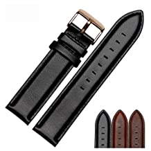 NESUN Unisex Watch Strap Calfskin Leather Watch Band Suitable For DW Watches (20, Black)