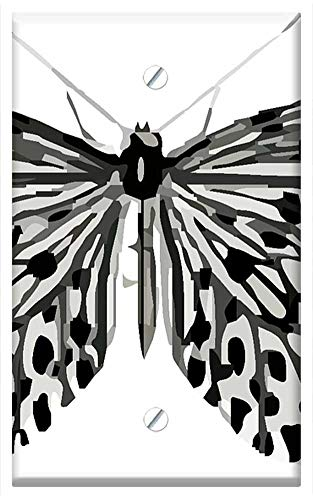 Single-Gang Blank Wall Plate Cover - Butterfly Clip Art Colorful Black White Nature