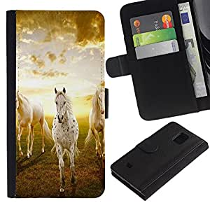 LASTONE PHONE CASE / Lujo Billetera de Cuero Caso del tirón Titular de la tarjeta Flip Carcasa Funda para Samsung Galaxy S5 Mini, SM-G800, NOT S5 REGULAR! / Clouds Horses Nature Sunset Mustang