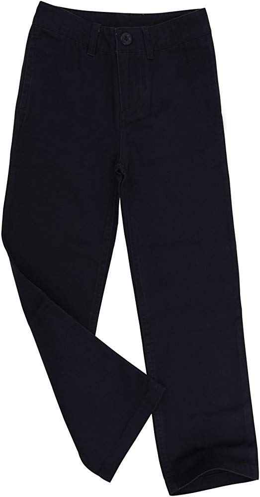 Bienzoe Big Boys School Uniforms Flat Front Adjust Waist Trousers Slim fit
