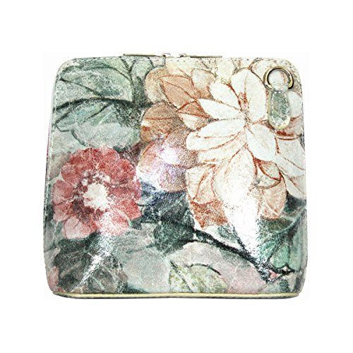 Handbag Small Leather Bag Cross Floral Black Genuine or Body Shoulder Italian in Vintage HXCwWFqZ
