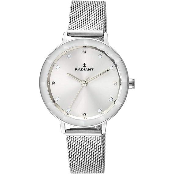 Reloj Radiant para Mujer con Correa Plateada y Pantalla en Blanco RA467601: Amazon.es: Relojes