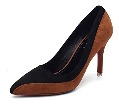 Aisun Damen Elegant Kontrastfarben Low Top Spitz Zehen Stiletto High Heels Pumps