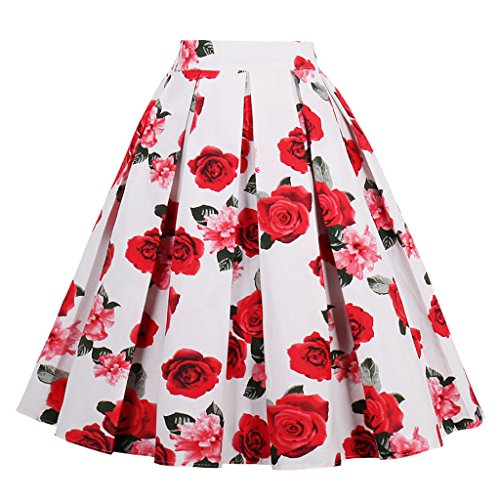 VERNASSA Femmes Coton Polka Dot Floral Annes 50 Inspir Vintage Rockabilly Jupe Cercle Complet Jupes Robe De Soire, Multicolore