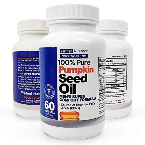100% Pure Pumpkin Seed Oil - 60 Soft Gels Containing a Rich Nutrient Profile Found in Genuine Whole Foods - Men's Super Comfort Formula - Nutritional Oil Rich in Essential Fatty Acids (EFA's)
