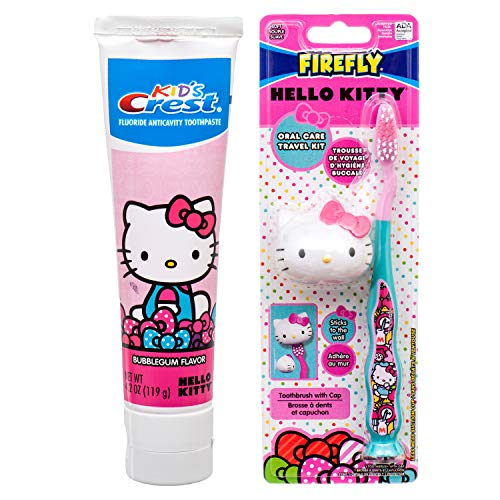 Hello Kitty Toothbrush with Suction Cap and Hello Kitty Crest Toothpaste 4.2 oz Kids Dental Set Travel Kit