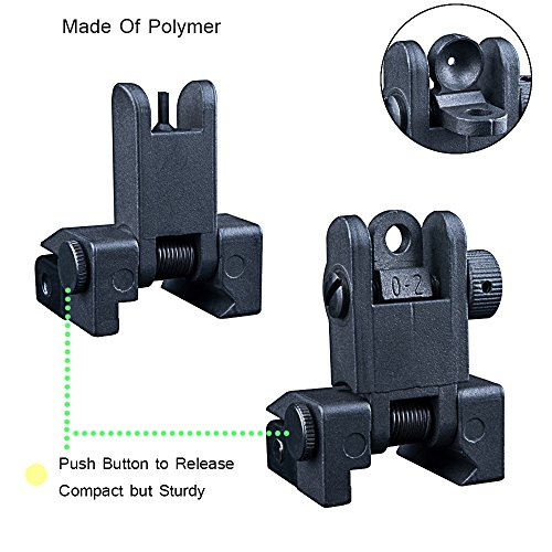 Polymer AR-15 Iron Sights,Lightweight AR Front and Rear Flip up Backup Battle Sights-Picatinny Rail BUIS (Iron Adjustable Sight)