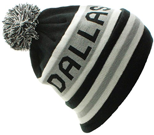 US Cities Dallas Texas Champions Cuff Beanie Knit Pom Pom Hat - Us City Texas