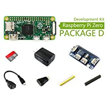 Raspberry Pi Zero V1.3 1GHz CPU 512MB Pi 0 Package D Basic Development Kit Micro SD Card, Power Adapter, USB HUB, and Basic Components