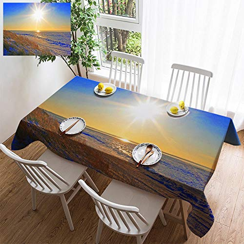 HOOMORE Simple Color Cotton Linen Tablecloth,Washable, Gorgeous Sunset Over Cape Cod Bay Decorating Restaurant - Kitchen School Coffee Shop Rectangular 84×60in