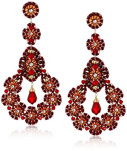 Miguel Ases Rubellite Bead 14k Gold-Filled Nest Earrings by Miguel Ases