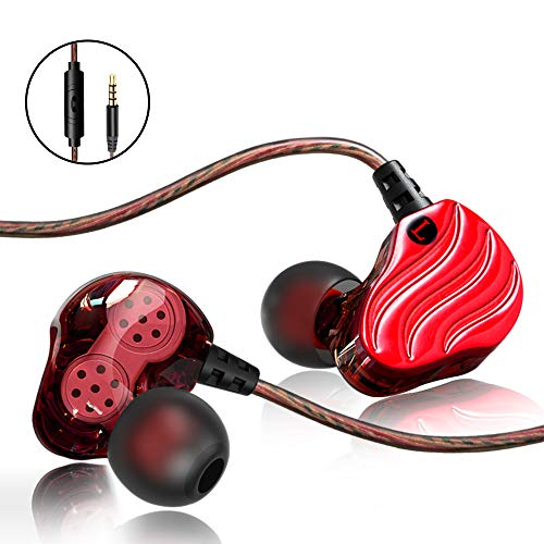 IEM Earbuds,Cute Earbuds for Girls,SXGINBT Cool Earbuds with Mic,Wired Gummy Earbuds for PSP 5S 6S S7 S8 S9 S10 Earphones,Quad Driver Foam Run Earbuds(Red)