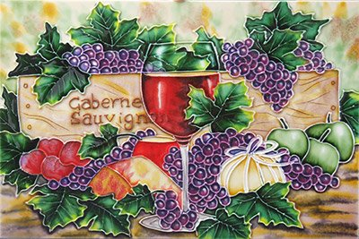 Cabernet Sauvignon Wine a Benaya ceramic art tile coasters as if they are alive with detail bold colours a perfect decorative wall tile gift purchase