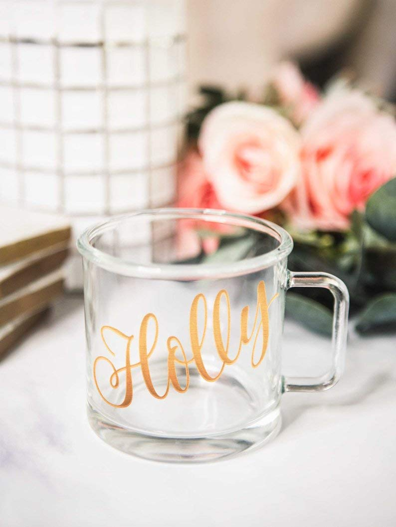 Modern Camping Mug with Name Mug Style Clear Glass Mug Gift Coffee Mug with Name for Bridesmaids Gift
