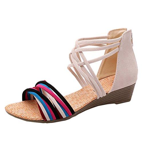 Scothen Zapatos las sandalias de las mujeres correa del tobillo romana Trenzado T-Correa Gladiador correa de los planos clip sandalias de punta zapatillas de playa del flip-flop de las mujeres Beige