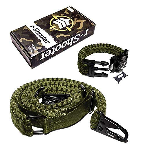 Traditional 2-Point 550 Paracord Rifle Sling | Two Point Gun Shoulder Strap Durable & Adjustable | Ideal for Tactical Shooting, Hunting& Emergency Situations (Green+Bracelet)