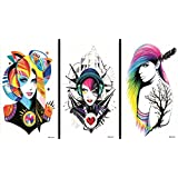 Latest new design and hot selling realistic tattoo stickers 3pcs in one package, it's including fashion ladies temporary tattoos