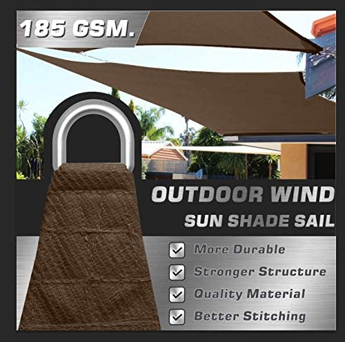 OUTDOOR WIND 20 x20 Sun Shade Sail Canopy Awning UV Block for Outdoor Patio Garden Backyard Brown