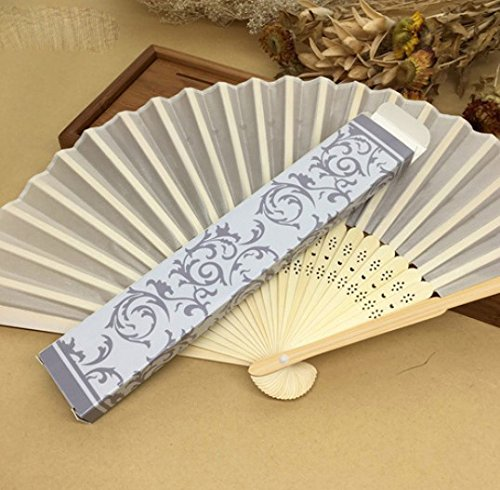Beige 100 Pcs/Lot Printing Fans In Gold Or Silver Gift Box Hand Held Fabric Fans Wedding Decor by Hand Fan