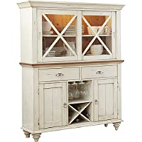 China Cabinet Made Of Wood in Antique White Color With French and English Construction Design Showcase Drawers and Wine Glasses And Bottles Storage