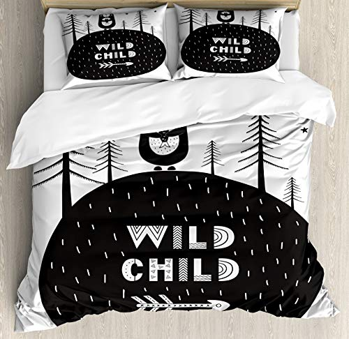 Ambesonne Grey and White Duvet Cover Set, Hand Drawn Bear Holding a Fish with a Smile in Forest Wild Child, Decorative 3 Piece Bedding Set with 2 Pillow Shams, Queen Size, White Charcoal
