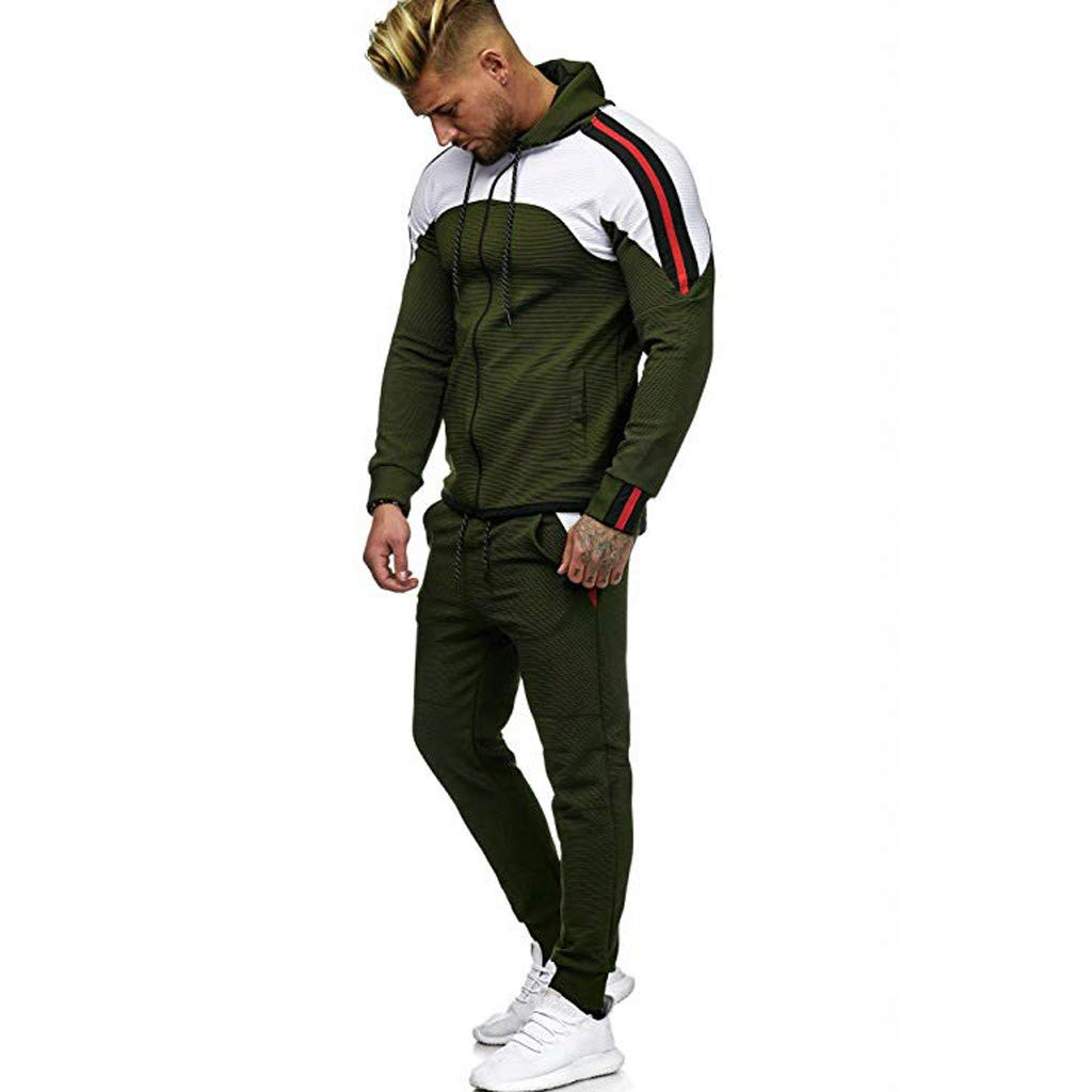 Men's Sweatshirt Top Pants Sets, Vine_MINMI Warm Sportswear Sports Suit Long Sleeve Tracksuit with Pocket Green by Vine_MINMI Men's Sweatshirt