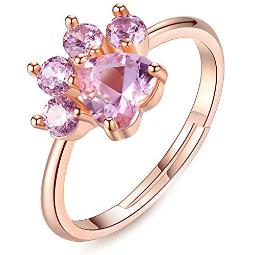 Pet Cat Rings Dog Paw Rings For Teens Girls Women Cute Rose Gold Simple Adjustable Heart-shaped Pink Zircon Lovely Promise Copper Rings For Arthritis Women Girlfriends Her Ladies Bridal (Pink-Rings)