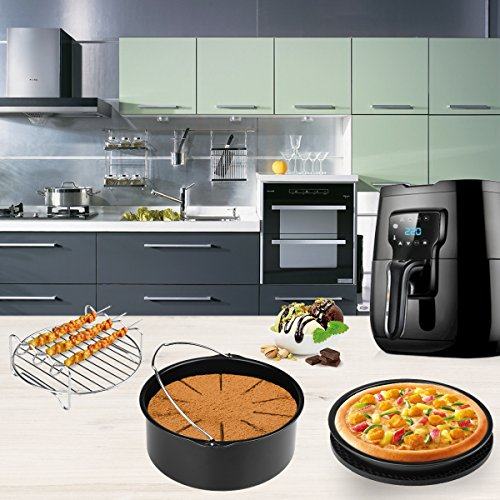 Air Fryer Accessories for Gowise Phillips and Cozyna, 7 Pcs with Cake Barrel/Pizza Pan/Silicone Mat/Metal Holder/Skewer Rack/Kitchen Tong/Bowl Clip, Fit all 3.7QT-5.3QT-5.8QT by Aiduy (Image #6)
