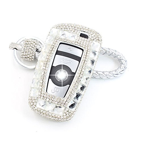 Thor-Ind Luxury Bling Crystal Diamond Key Fob Case Cover KeyChain ForBMW 1 3 4 5 6 7 Series X3 X4 M5 M6 GT3 GT5 3/4 Buttons Keyless Entry Remote Control Smart Key Protective Shell Bag (A Type-silver)