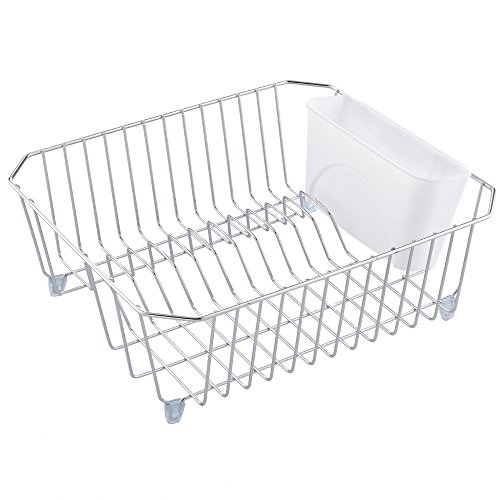 Rust Proof Kitchen In Sink Side Draining Dish Drying Rack, Chrome Dish - Wire Drainer Dish White