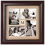 Malden International Designs Barnside Portrait Gallery #14 4 Opening 4x6 Personalized Textured Mat Dark Walnut Picture Frame
