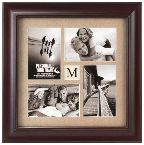 Malden International Designs Barnside Portrait Gallery Personalized Textured Mat Picture Frame, 4 Option, 4-4x6, (Personalized Collage Frame)