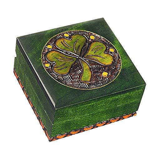 Handmade Shamrock Jewelry Cufflink Ring Box