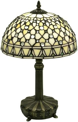 Warehouse of Tiffany s T12043TGRA Tiffany-Style White Jewel Table Lamp, 12.0 x 12.0 x 19.0 , White
