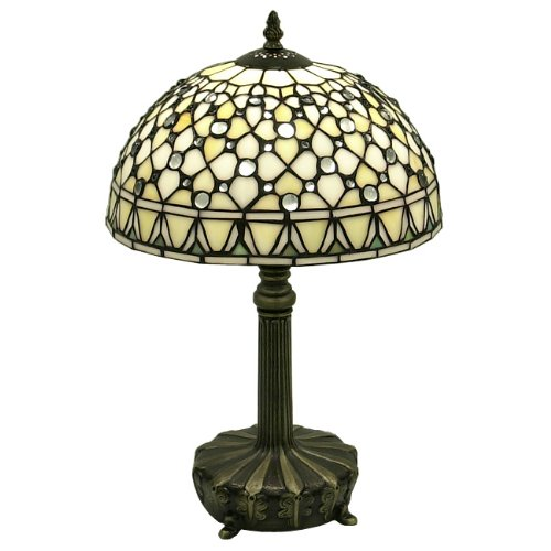 - Warehouse of Tiffany's T12043TGRA Tiffany-Style White Jewel Table Lamp, 12.0