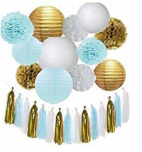 15pcs Baby Blue Gold White Mixed Tissue Pom Poms Tassel Garland Paper Lanterns Wedding Birtday Baby Shower Hanging Decoration